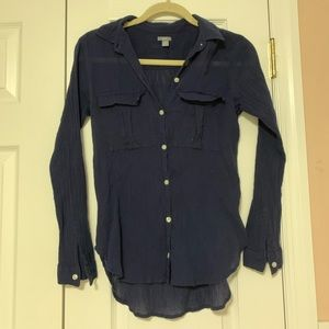 Aerie Navy Blue Ruched Button Down Top